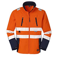"""Vorschau: Warnschutz-Softshelljacke """"PITTSBURGH"""" - 4PROTECT® orange/blau"""